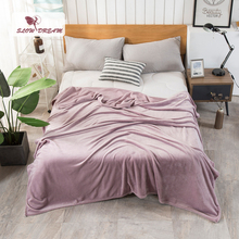 Slowdream Fashion Luxury Flannel Blanket Summer Sheet bed cover Sofa Throw Queen King Size Coral Fleece Blankets 1PCS