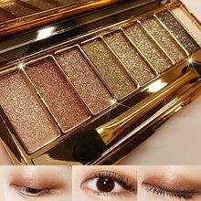 9 colores diamante brillante sombra de ojos maquillaje Naked Smoky Palette maquillaje Set sombra de ojos Maquillage cosmética profesional con el cepillo