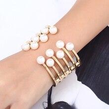 Фотография Fashion Elegant Alloy Faux Pearl Open Bangle Women Lady Jewelry Gift