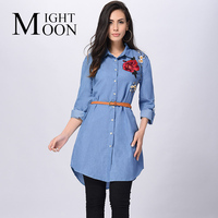 MOONIGHT Women Shirt 2017 Spring Flowers Embroidery Cowboy Printed Blue Oxford Sashes Floral Turn Down Collar
