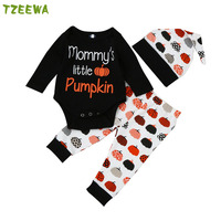 Halloween Baby Boys Clothes Set Hallowmas Newborn Baby Girl Clothing 3pcs Baby Rompers Pants Hats Roupa