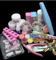 Nail Art Set Acrylic Liquid Glitter Powder File Brush Form Tips Tools DIY Kit