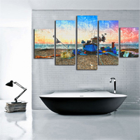 Boat On Beach Canvas Paintings 5 Pieces Canvas Wall Art Water Color Style Printing The Printings Nordic Home Decor