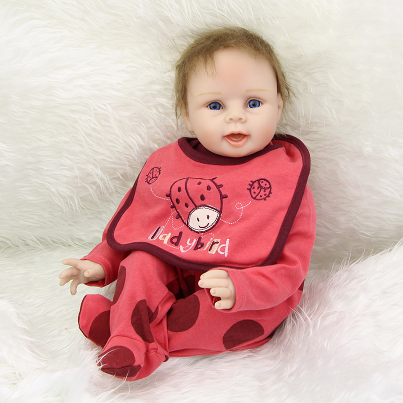 NPK New Style Lifelike Newborn Baby Dolls Girl Silicone Soft Reborn Kids Wearing Rose Red Ladybird Clothes Birthday Gift handmade 22 inch newborn baby girl doll lifelike reborn silicone baby dolls wearing pink dress kids birthday xmas gift