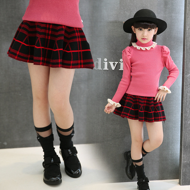 Hot Korean Children New Girls Knit Pleated Backing Puff Skirt Kids Clothing Black Red Plaid Cotton