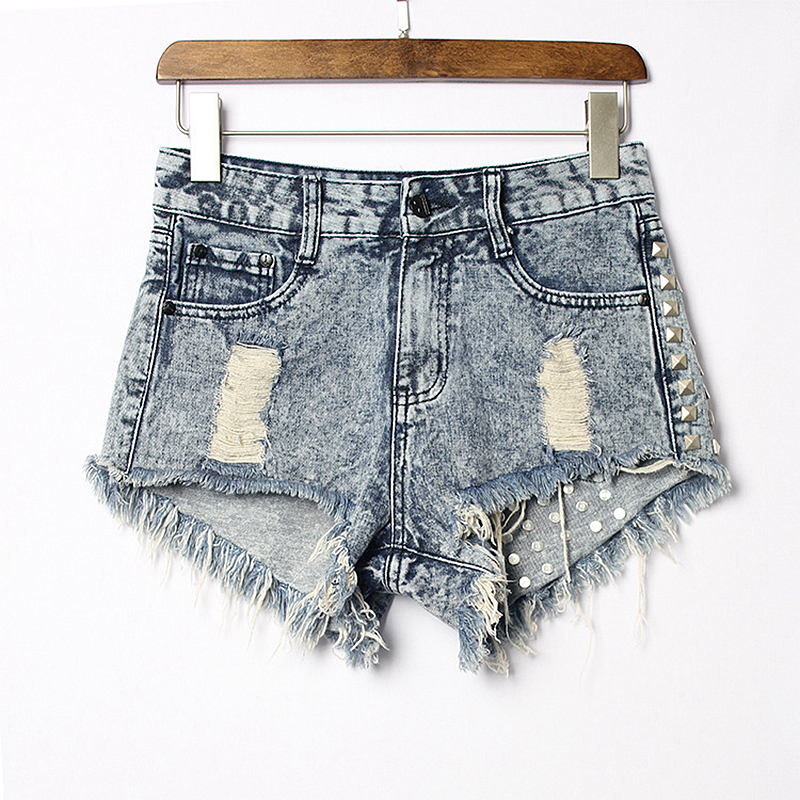High Quality Sexy Hot Short Jeans Women 2018 Rivet Bronzing Hole Low Waist Denim Shorts Slim Plus Size Short New Fashion in Shorts from Women 39 s Clothing