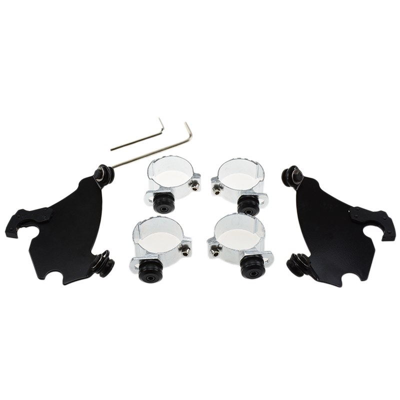 49MM Memphis Gauntlet Fairing Black Trigger Lock Mount Kit For Harley FXD Dyna New 49mm motorcycle fork bracket fairing black trigger lock mount kit for harley dyna d35 fxd fxdc super glide low rider street bob