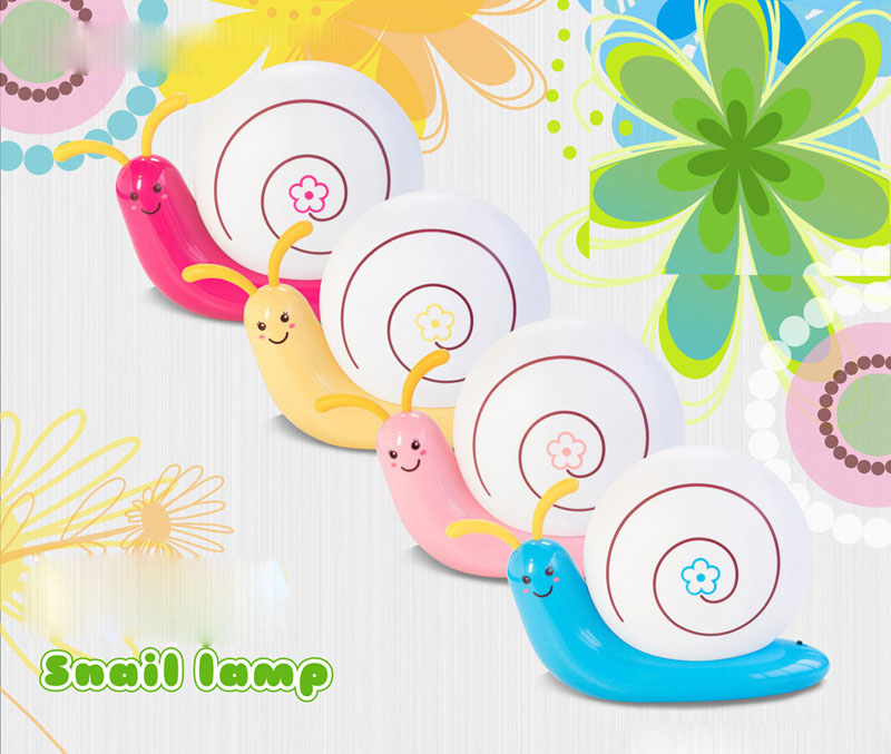 Cute Cartoon LED Snail Beside Table Lamp Baby Bedroom Decoration USB Rechargeable Wall Sleeping Night Lights For Children Kids cute cartoon animals pattern blackboard wall stickers for children s bedroom decoration