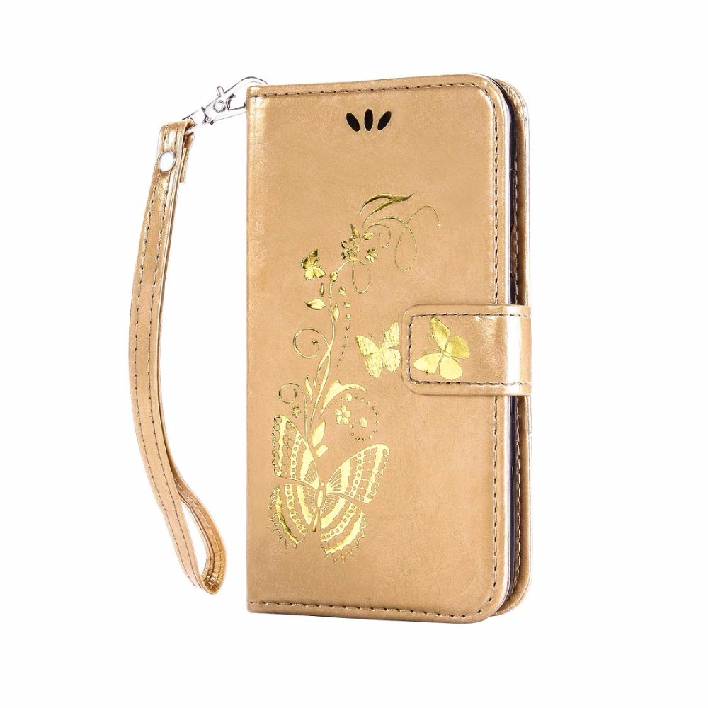 newest 383de e62d3 US $3.65 10% OFF Gold Colour Butterfly Wallet Leather Flip Cover Case For  Samsung galaxy J3 J5 J7 2017 EU Version J330 J530 J730-in Wallet Cases from  ...