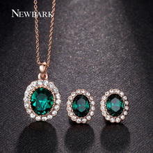 NEWBARK Fashion Imitation Gemstone Jewelry Sets Rose Gold Plated Green Oval Crystal Necklace Earrings Set Paved Rhinestone