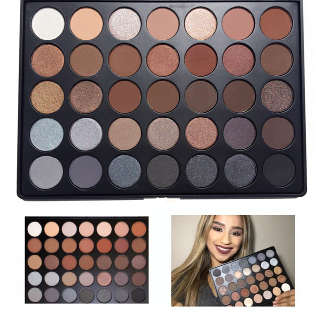 New 350 Palette Metallic and Matte 35 Color Eye Shadow Palette Earth Color Shimmer Matte Eyeshadow Makeup Set Cosmetic Kit