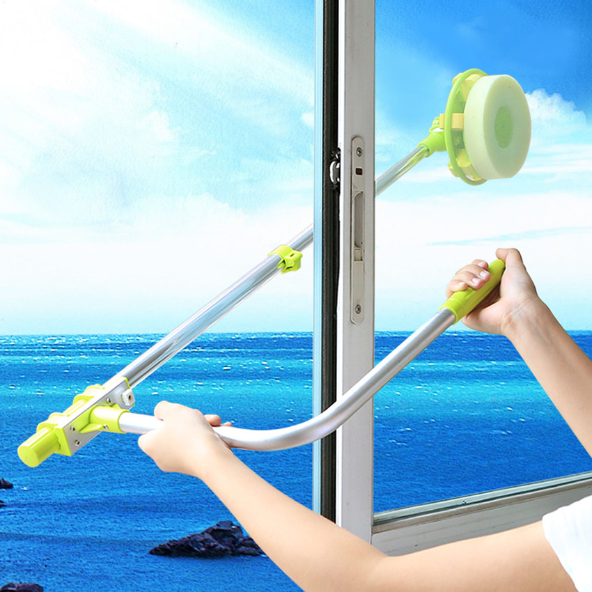 New Glass window cleaning tool retractable pole clean window device with melamine sponge head double faced glass scraper wipe resistance study in tomato