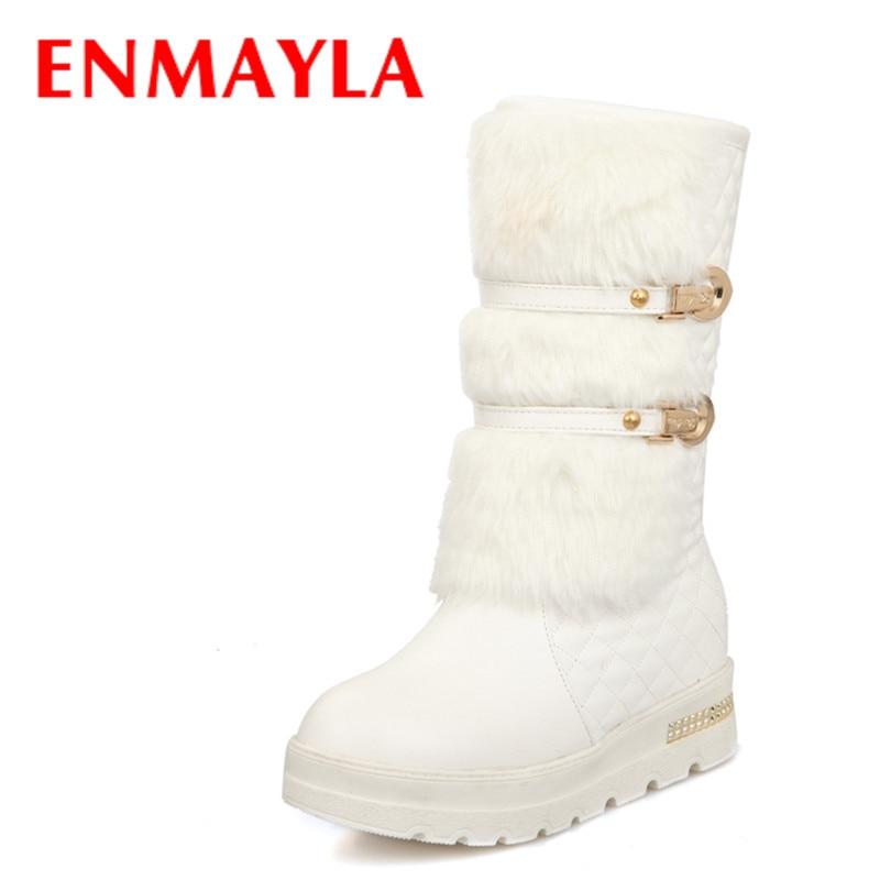 ENMAYLA nouveau hiver mode boucle fourrure bottes femmes Slip-on ballerines demi neige bottes blanc noir métal décoration dames chaussures