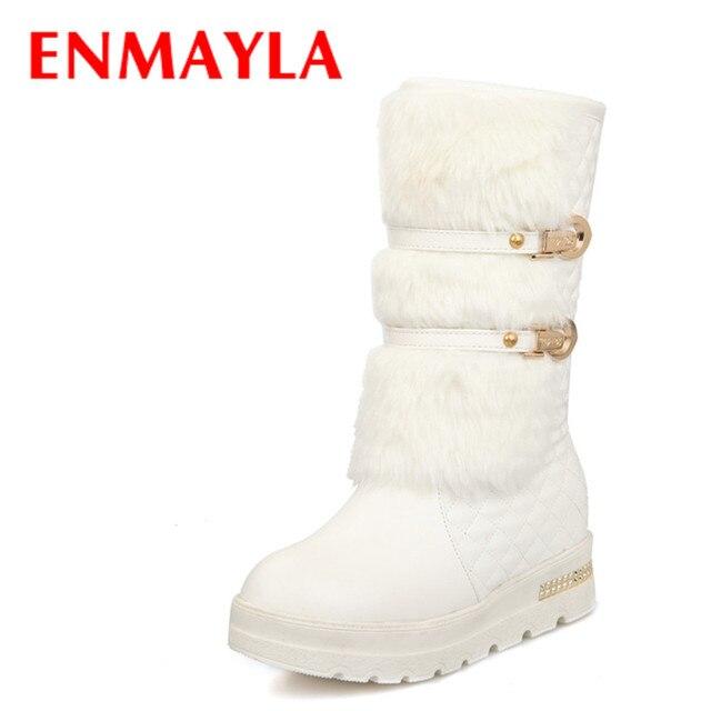 ENMAYLA Yeni Kış Moda Toka Kürk Botları Kadınlar Slip-on Flats Yarım Kar Botları Beyaz Siyah Metal Dekorasyon Bayanlar ayakkabı