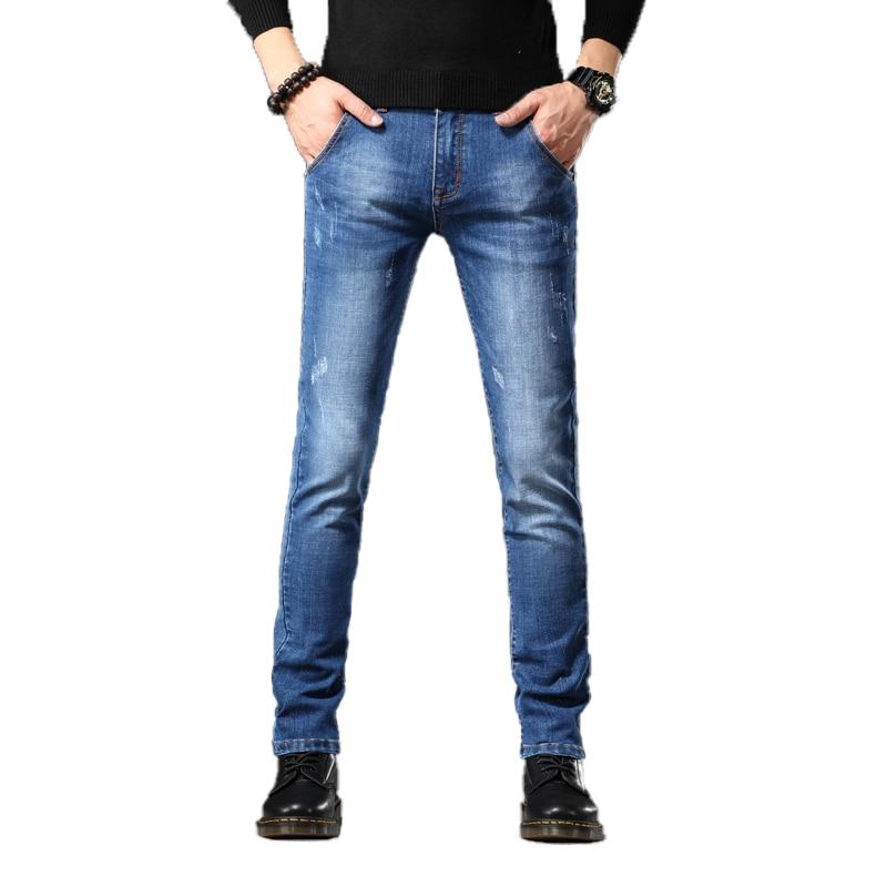 2019 New Skinny Jeans Men Drawstring Slim Fit Denim Joggers Stretch Male Jean Pencil Pants Men's Jeans Fashion Casual Jean Homme