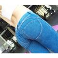 Talla Grande 2016 Azul Jeans Femme Estilo De Italia Pantalones Deportivos Mujer Elásticos Pantalón Lapiz  Señora Sexy Diseño Slim  S - XL