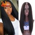 Italian Yaki U Part Human Hair Wigs For Black Women 10a Brazilian Virgin Hair U Part Wig Human Hair Natural Black Upart Yaki Wig