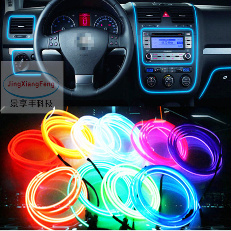 JingXiangFeng Car Styling Luz ambiental Decoración de interiores Light EL Wire Easy Sew Flexible Led Neon Strip 12V Inverter Driver