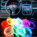JingXiangFeng Car Styling luz ambiental decoración Interior luz EL cable fácil de coser Flexible Led neón tira 12 V inversor Driver