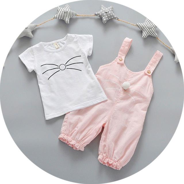 2016 conjuntos meninas Do Bebê verão T-shirt coelho Bonito do bebê do algodão terno alça beard two-piece criança meninas terno recém-nascidos roupas pijama