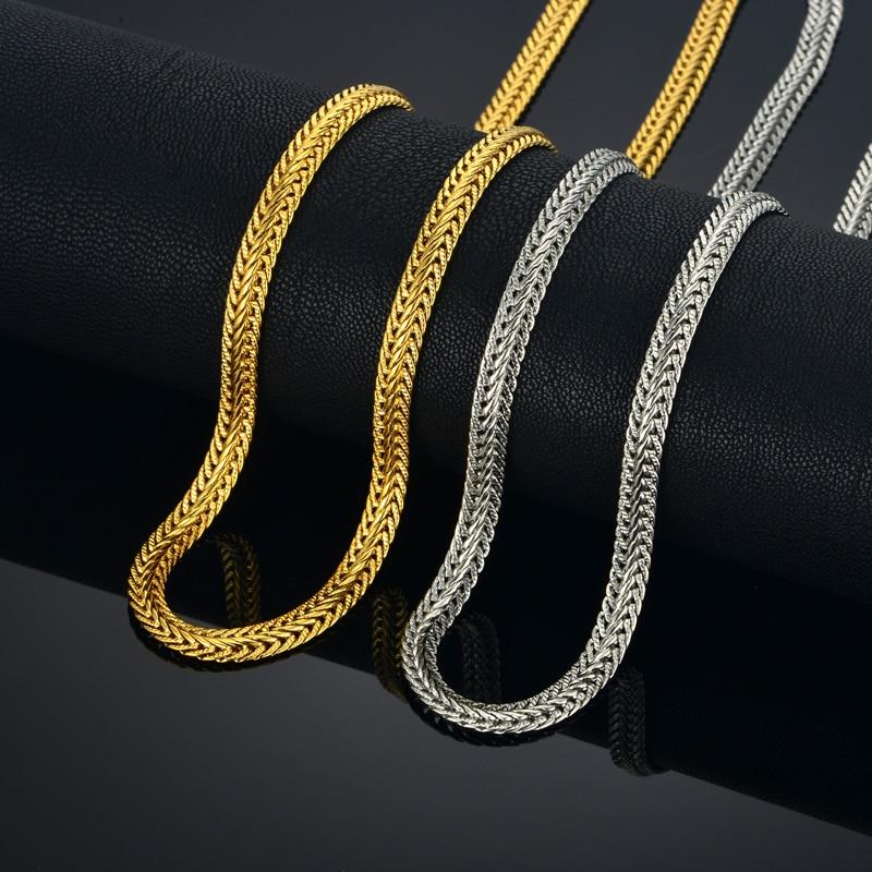 "Gold Chain For Men Golden Necklace Men Jewelry Wholesale 6MM 17""-25"" Men's Gold Color Snake Chain Necklace Colar Collier"