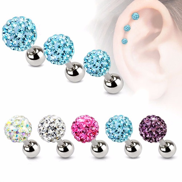 9f8c9964d30 Punk Crystal Ball Stud Earrings Shellhard Vintage Cartilage Piercing Tragus  Helix Bar Earring brincos Female Women Charm Jewelry