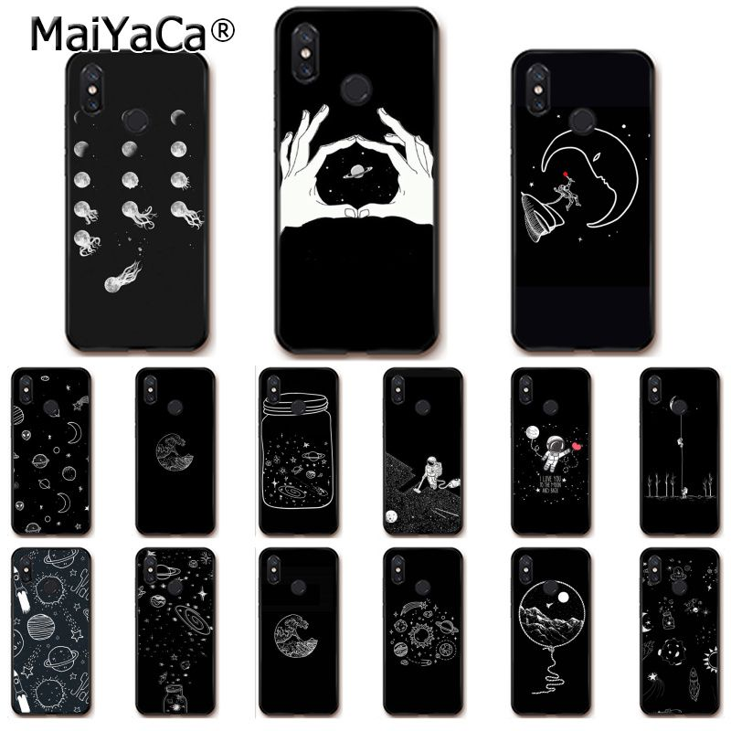 Cellphones & Telecommunications Trend Mark Maiyaca Black With White Moon Stars Space Astronaut Phonecase For Xiaomi Mi6 Mix2 Mix2s Note3 8 8se Redmi 5 5plus Note4 4x Note5 To Win A High Admiration And Is Widely Trusted At Home And Abroad.