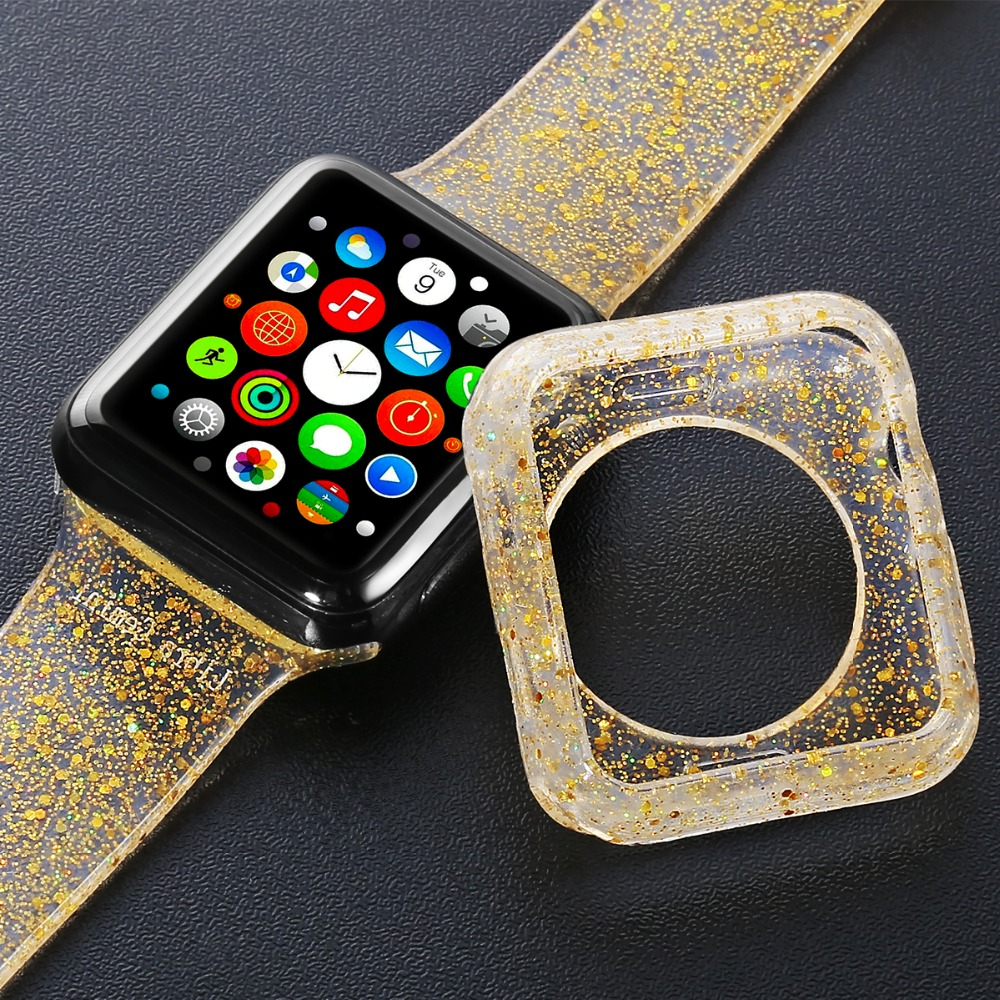 Silicone Bracelet for Apple Watch 4 3 2 Band Gold for iWatch Case Strap Straps for Apple Watch Bands 42mm 44mm 38mm 40mm Case image