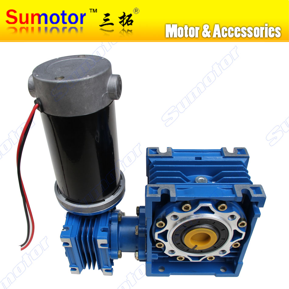 DC 24V 6.5A 100W GW030050 Low speed High Transmission ratio High Torque dual-shaft Output bore Electric Worm Gear Motor dhl ems 1pc extended output shaft gear vrsf 25c 100 w