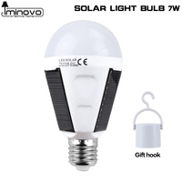 Iminovo Solar Power Lamp Led Bubls AC 85V 265V 7W E27 Rechargeable Luminaria Energy Outdoor Camping