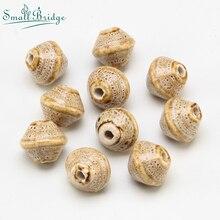 15mm Vintage Gyro Ceramic Beads Flower Glaze  For Women Braided Bracelet Material Bicone Porcelain Spot beads Wholesale U802