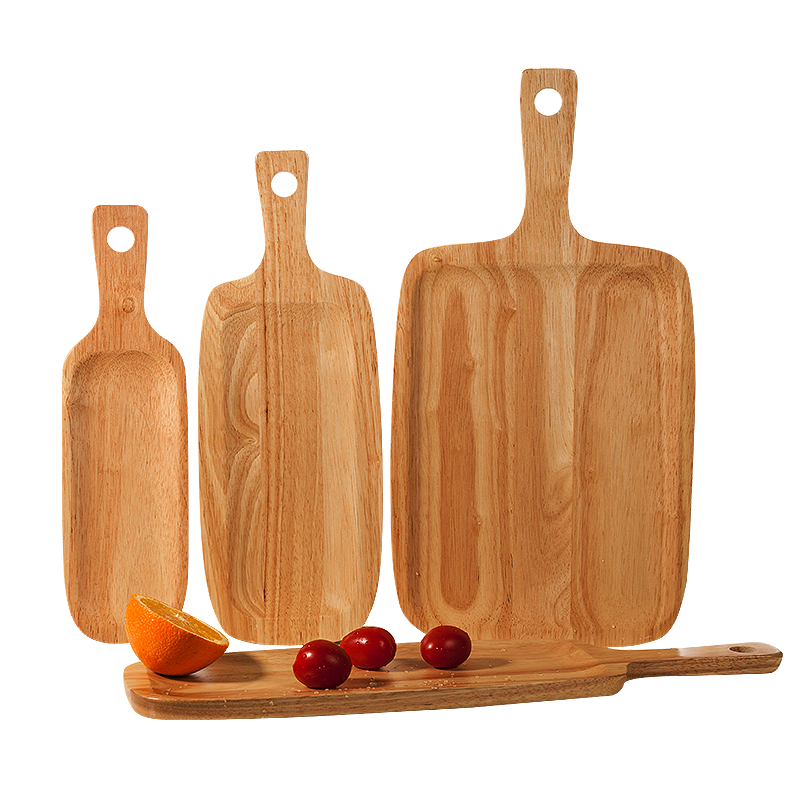 Japan Style Rectangle Wooden Bread Board Eco-Friendly Multi-Use Natural Wood Tea Trays Fruits/Snacks/Cake Plate Cutting Boards