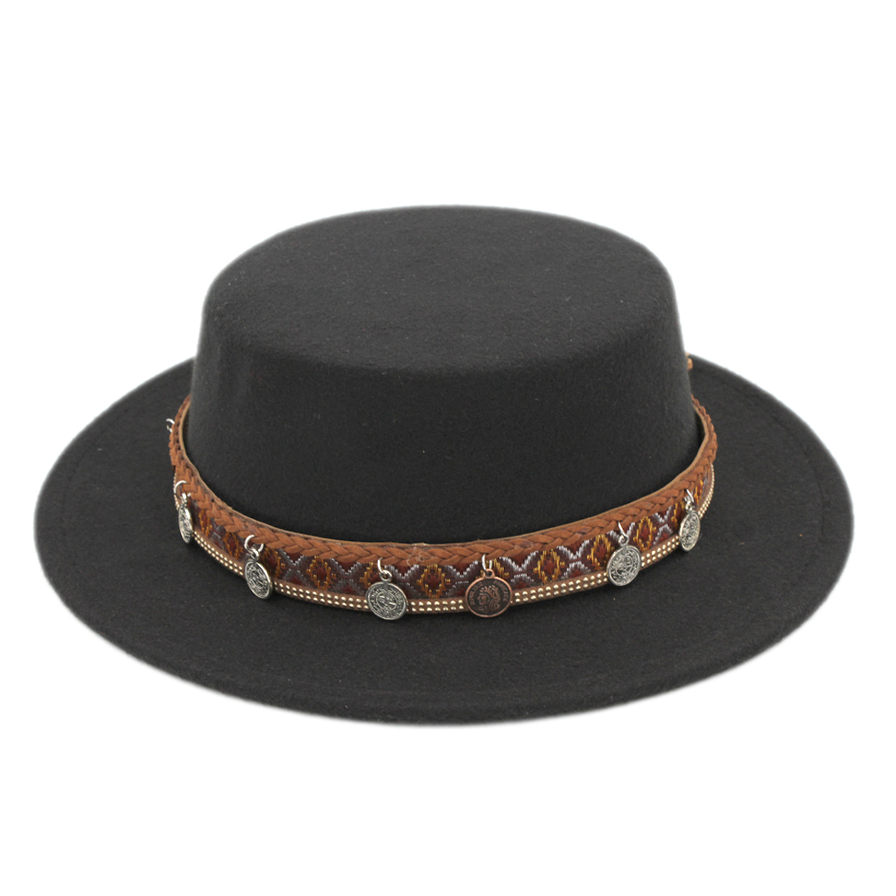Mistdawn Fashion Women Men Boater Sailor Hat Pork Pie Hat Felt Bowler Church Cap Flat Stiff Brim Size 56-58cm