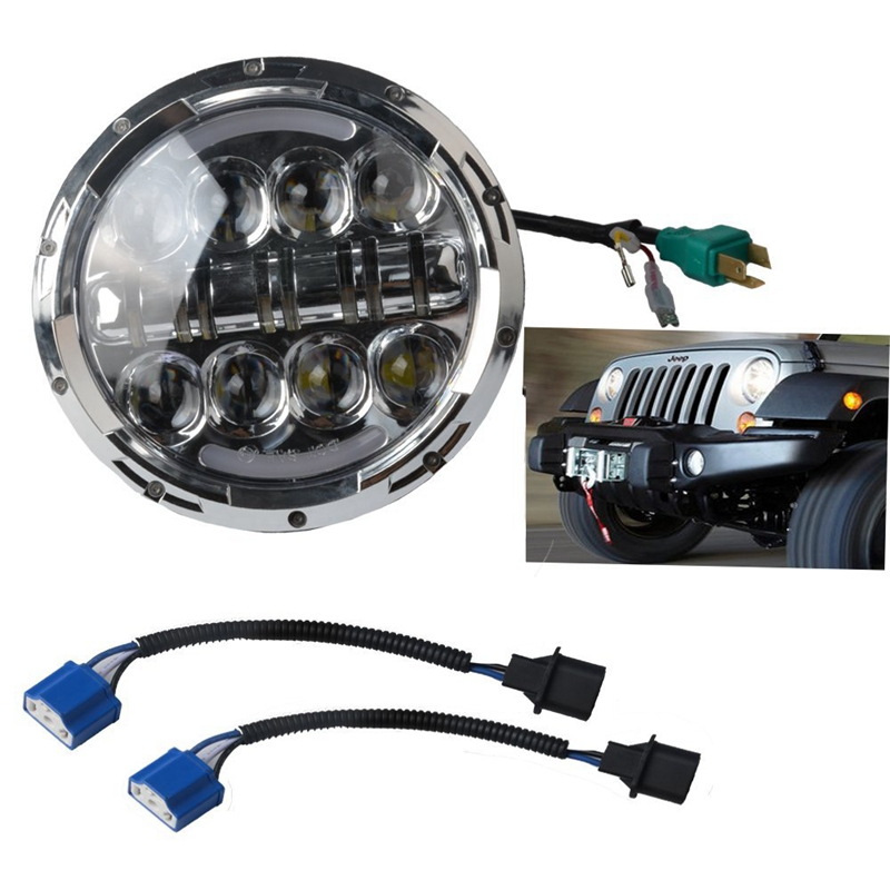 2 PCS 80W 7 Inch Round LED Headlight with White/ amber Turn Signal DRL for Jeep Wrangler Jk Tj Harley Davidson