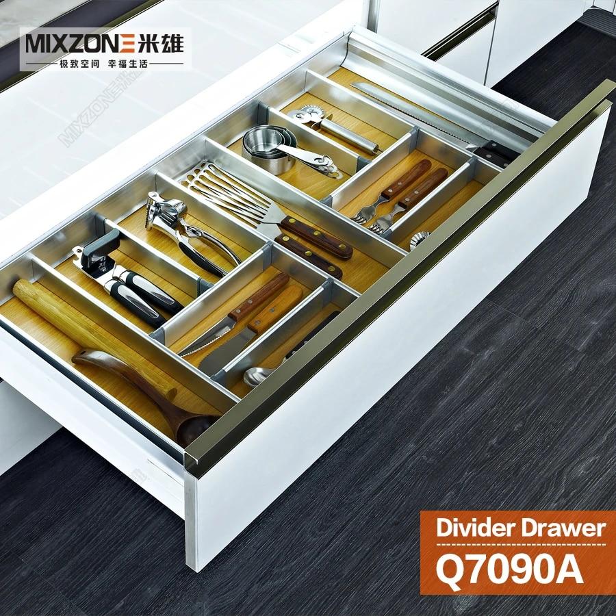 Kitchen Cabinet Aluminum Alloy Wood Utensil Divider Basket Drawer Organizer With Soft Close Slide Adjustable Divider Tray Q7090a Tray Metal Organizer Kitchentrays Faceplates Aliexpress