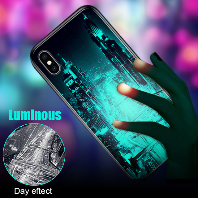 Luxury Starry Tempered Glass <font><b>Luminous</b></font> <font><b>Case</b></font> Funda For <font><b>iPhone</b></font> 7 8 Plus <font><b>6</b></font> 6s Xs Max Xr Cover Glass Back cover For <font><b>iPhone</b></font> 5 5S <font><b>Cases</b></font> image