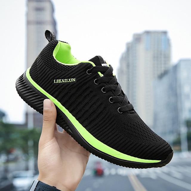 Спортивная обувь для мужчин летние, воздушные, сетчатые дышащий Зеленый Новая мода Fly ткань мужской обуви Открытый Бег Спортивная обувь для мужчин