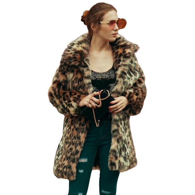 d91371b67dc7 Autumn Fluffy Faux Fur Coat Women Warm Chic Female Outerwear Leopard Print  Elegant Winter Jacket Coat Hairy Plus Size Overcoat