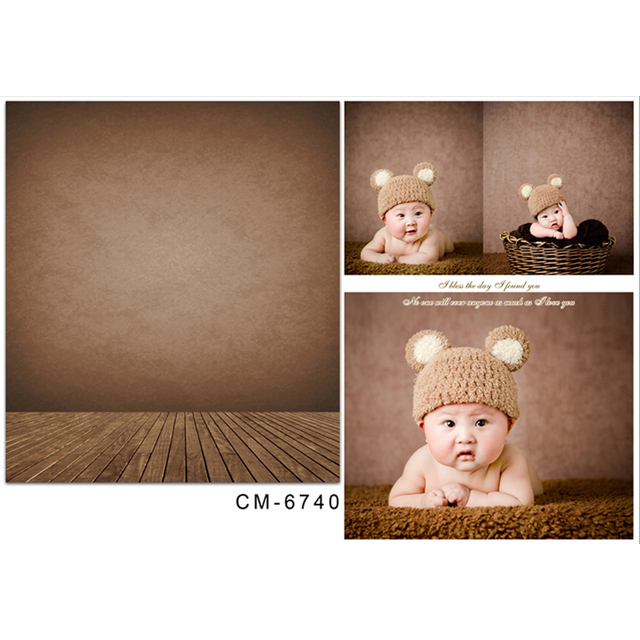 Brown Wallpaper Vinyl Photography Background Wood Floor New Fabric Flannel Backdrop For Baby photo studio