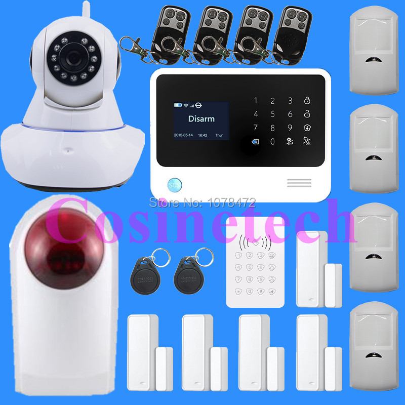 2016 2.4G WiFi GSM GPRS SMS Wireless Home Security Intruder Alarm System with HD 720P Wifi IP Camera strobe siren, RFID keypad yobang security rfid gsm gprs alarm systems outdoor solar siren wifi sms wireless alarme kits metal remote control motion alarm
