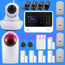 2016 2.4G WiFi GSM GPRS SMS Wireless Home Security Intruder Alarm System with HD 720P Wifi IP Camera strobe siren, RFID keypad