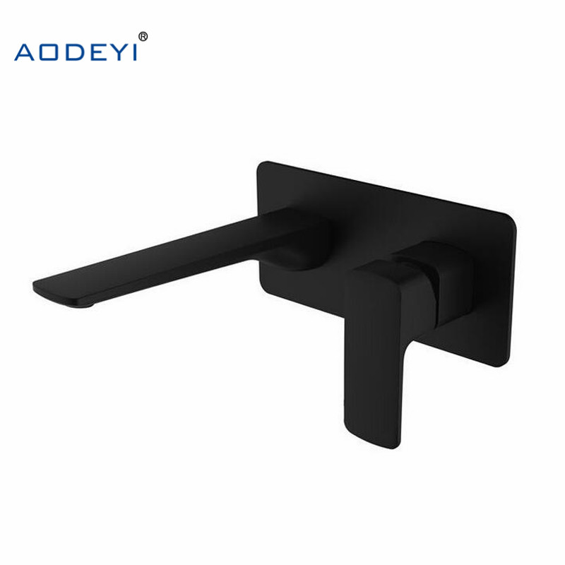 AODEYI Brass Wall Mounted Basin Faucet Single Handle Bathroom Mixer Tap Hot & Cold Water Tap Matte Black Chrome Fine Casting quality black plated brass wall mounted basin faucet single handle hot and cold mixer bathroom faucet in wall mount water tap