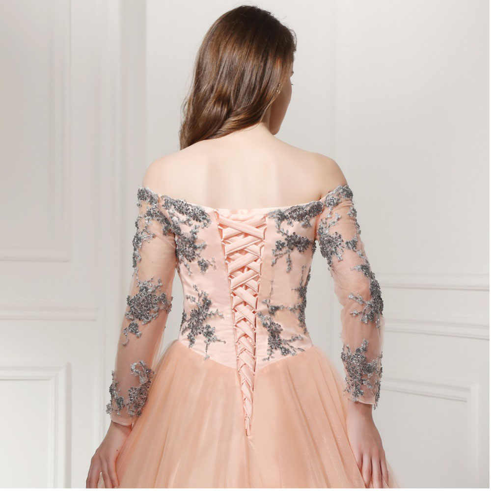 c99ccb6fa4c6f Prom Dress 2018 SoDigne Vintage Tulle Peach Color Evening Dress Long Sleeve  Off The Shoulder Lace Up Party Gown Appliques Beads