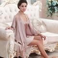 Women Nightgown 2016 Top Fashion Full Sleeve Twinset Bathrobe Imitation Silk Robe Sets Sexy V-neck Sleepwear Hot Sale Nighty