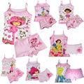 Las niñas ropa de verano conjunto Ropa de Los Niños conjunto de Ropa Interior pijamas Para Niños set Bebé girls tank tops y Elsa boxeador dora 3 set/lote (2-6Y)