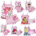 Meninas set roupas de verão Crianças conjunto de Roupas Íntimas Crianças pijama definir meninas Do Bebê tops & boxer Elsa dora 3 jogos/lote (2-6A)