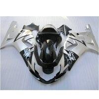Пользовательские Бесплатная АБС-пластик инъекций обтекатель набор для Suzuki K1 2001 2002 2003 GSXR 600 GSXR 750 01 02 03 черный серебро обтекатели комплект