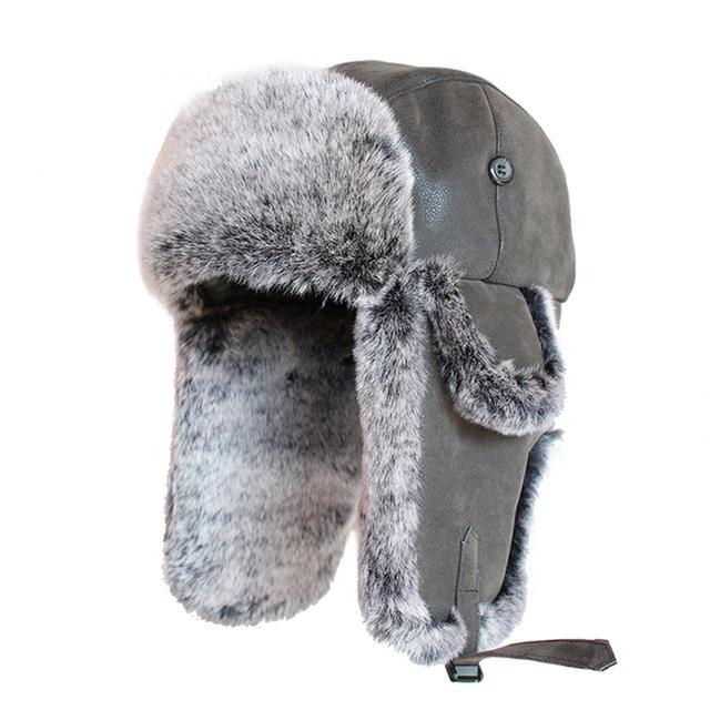 040f58b0e225fd Bomber Hats Faux Rabbit Fur Russian Ushanka Vintage PU Leather Earflap  Aviator Trapper Men Women Winter Warm Snow Ski Cap