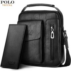 VICUNA POLO Vintage Men Shoulder Bag Brand Leather Messenger Bag With Front Pocket Waterproof Business Crossbody Bag For Male