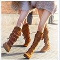 Estilo de europa américa pisos Lace Up de cuero nobuck borla del otoño del resorte mujeres botas hasta la rodilla dama franja rebaño 35-40 SXQ0605
